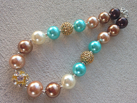 BLOWOUT Gold and Aqua Chunky Necklace