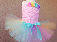 Pastel Rainbow Poofy Tutu with Satin Bow