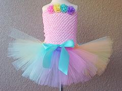 Pastel Rainbow Tutu with Satin Bow