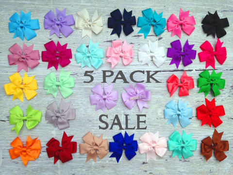 5 PACK SALE: Hair Bow Hair Clip