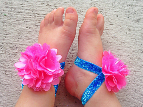Pink and Turquoise Sparkle Piggy Petals
