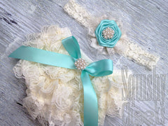Aqua Vintage Lace Baby Bloomers and Headband