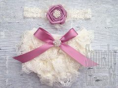 Mauve Vintage Lace Baby Bloomers and Headband