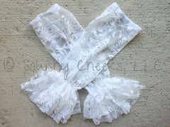 BLOWOUT White Lace Leg Warmers