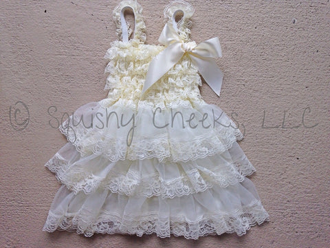BLOWOUT Ivory Ruffled Lace Dress