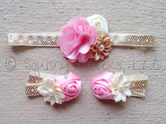 Pink and Gold Piggy Petals & Headband - purchase individually or as a set