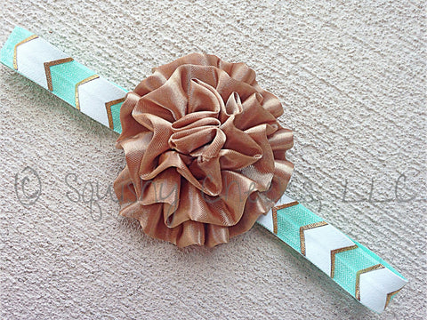 Mint and Bronze Headband
