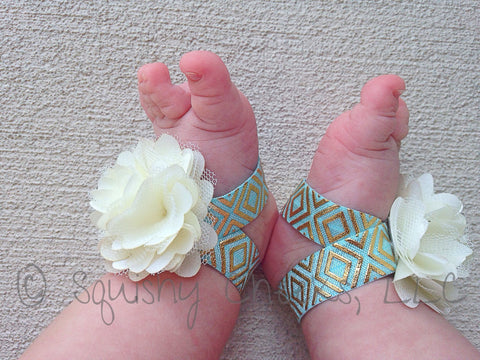 Ivory and Aqua Gold Aztec Piggy Petals