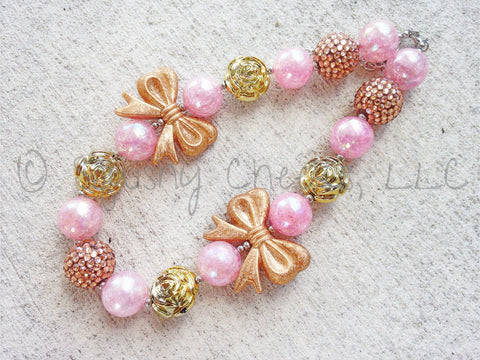 BLOWOUT Pink and Gold Chunky Necklace