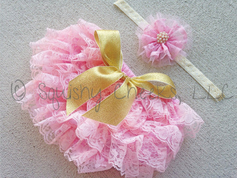 Pink and Gold Lace Bloomers and Headband