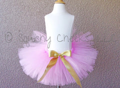 Pink Poofy Tutu with Gold Bow