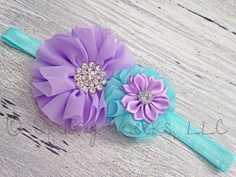 Aqua and Lavender Headband