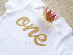 Girl's One Birthday Top w/ Princess Crown Hair Clip