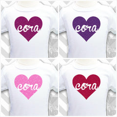 Personalized Glitter Heart Shirt