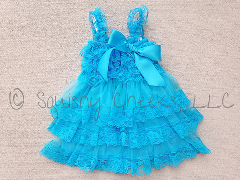 BLOWOUT Bright Turquoise Ruffled Lace Dress