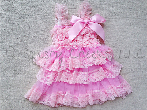 BLOWOUT Light Pink Ruffled Lace Dress