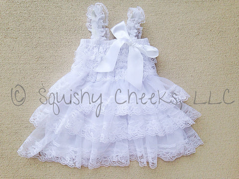 BLOWOUT White Ruffled Lace Dress