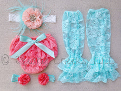 Coral and Aqua Lace Bloomer Outfit