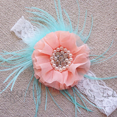 Coral and Aqua Feather Headband