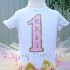 Pink and Gold 1st Birthday Top