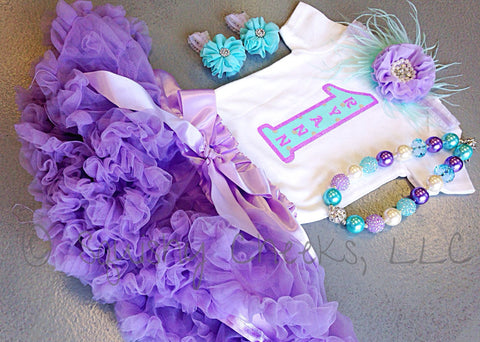 Lavender and Aqua Petti Skirt Birthday Outfit