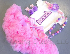 Pink and Purple Petti Skirt Birthday Outfit