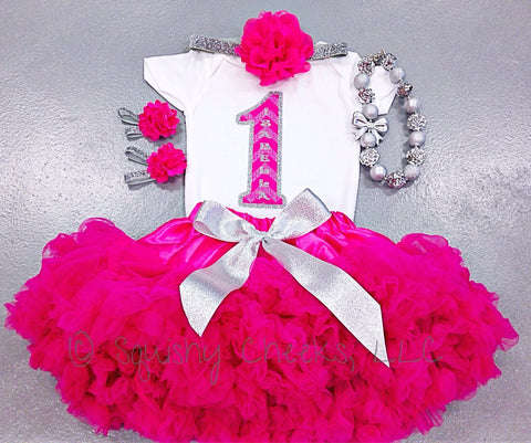Hot Pink and Silver Petti Skirt Birthday Outfit