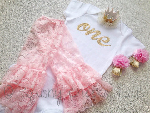 Gold and Pink 1st Birthday Outfit