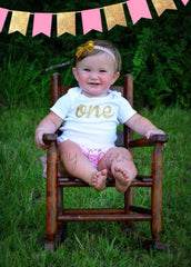 Girl's Personalized One Birthday Top