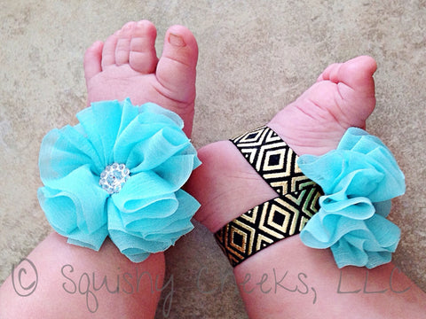 Aqua, Black and Gold Aztec Piggy Petals