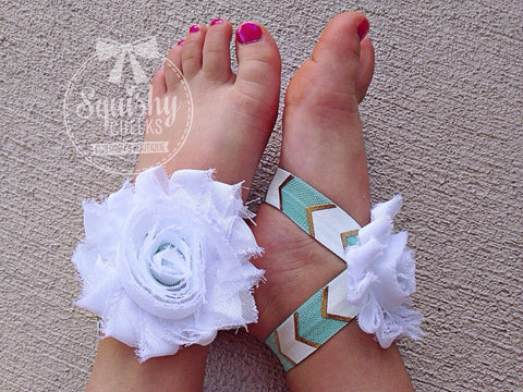 White and Mint Gold Aztec Piggy Petals