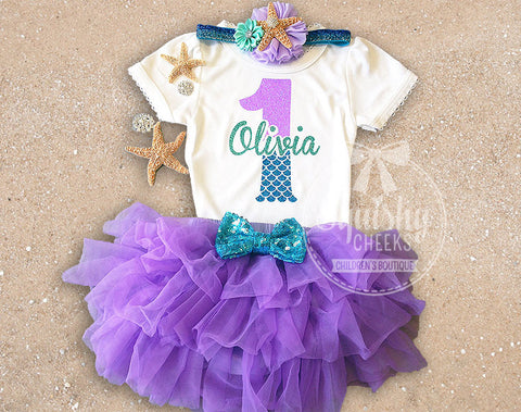 1e5ef0016 Girl's Personalized Mermaid Bloomer Birthday Outfit