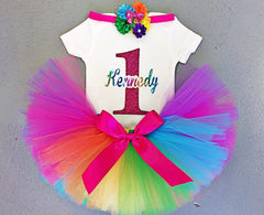 Girl's Rainbow Birthday Top