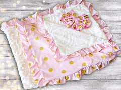 Personalized Pink and Gold Blanket & Headband Set