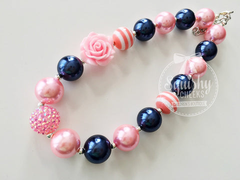 Pink and Navy Chunky Necklace