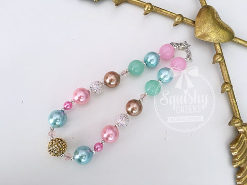 Pink, Aqua And Gold Necklace, Chunky Baby Necklace, Trendy Baby Necklace, Bubblegum Necklace, Baby Necklace, Toddler Necklace, Girl Necklace