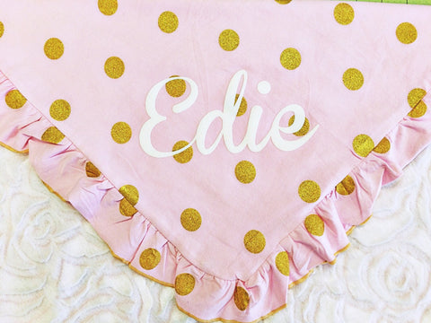 Personalized Pink and Gold Minky Baby Blanket