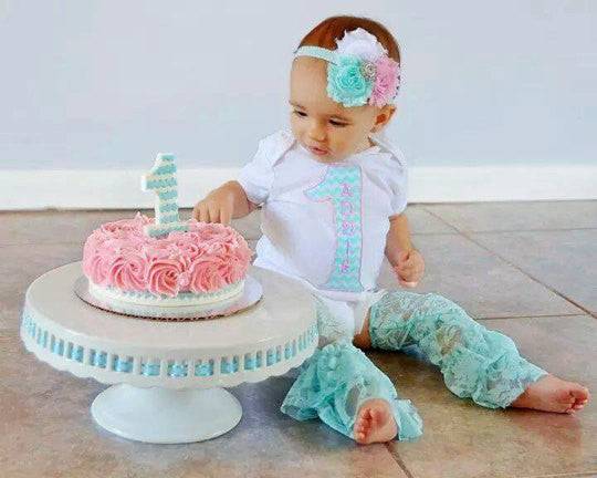 Girl 1st Birthday Outfit Aqua And Pink Includes Personalized Shirt Headband Lace Leg Warmers Smash Cake Photo