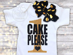 Girl's Black and Gold Cake Please Outfit