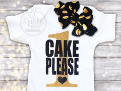 Cake Please Birthday Top, Black and Gold