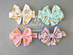 Gold Polka Dot Knotted Bow Headbands