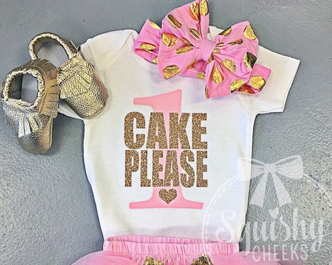 Cake Please Birthday Top, Pink and Gold