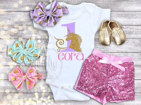 Girl's Personalized Unicorn Birthday Outfit