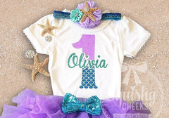 Girl's Personalized Mermaid Birthday Top