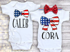 Patriotic Personalized Bow Outfit
