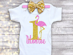Girl's Flamingo Birthday Top