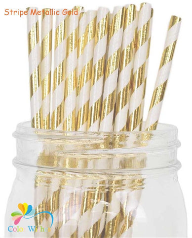 Gold Stripe Paper Straws - 25 pack