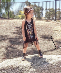 Girl's Wild & Three Boho Birthday Fringe Dress
