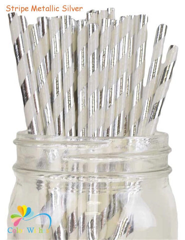 Silver Stripe Paper Straws - 25 pack