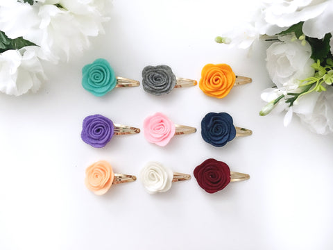 Felt Flower Gold Hair Clips